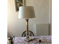 Silver plated column table lamp