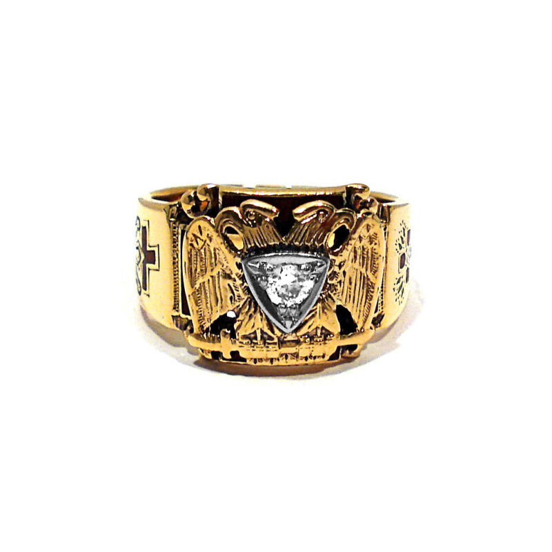 SOLID 14K YELLOW GOLD & DIAMOND MASONIC RING ~ SIZE 11 1/2