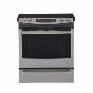 Cuisinière 30'' GE, Convection véritable, Slide-in, Stainless