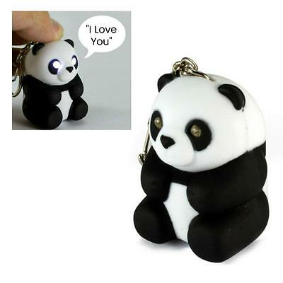 LED PANDA KEYCHAIN w Light and Sound Animal Toy NEW I Love You Key Ring Chain