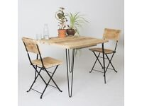 Made in London Outdoor Table and Chair Set - Reclaimed Wood Hairpin Legs Rustic Patio Garden