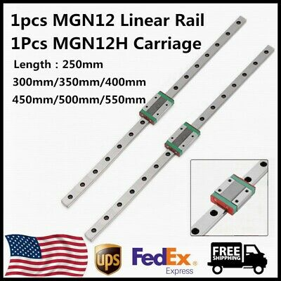 Mgn12 12mm Linear Rail Guide L250-550mm W Mgn12h Sliding Block Carriage For Cnc