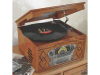 Steepletone Chichester III Turntable Record Player Music System with Radio CD & Cassette