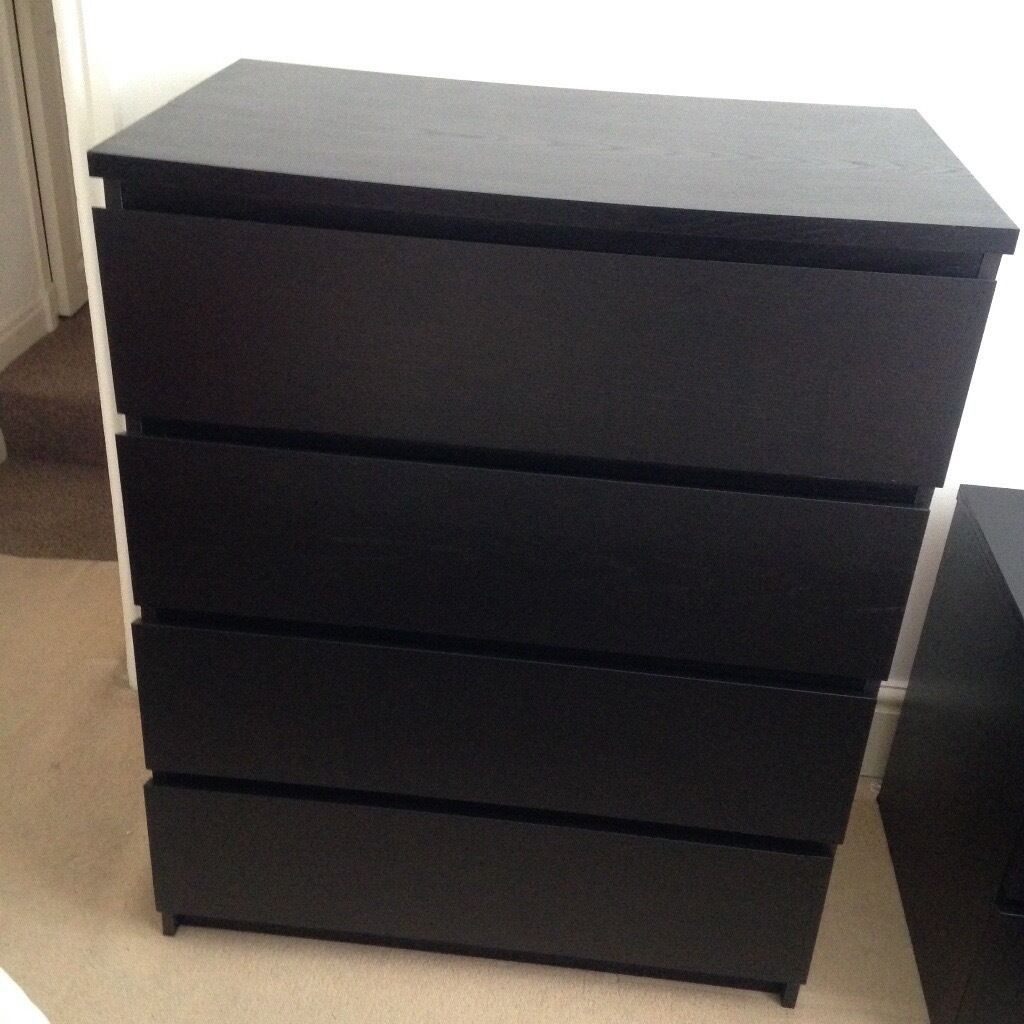 Ikea malm 4 drawer dresser - Ikea Malm 4 Drawer Chest Black Brown Ikea Malm 4 Drawer Chest Black Brown In