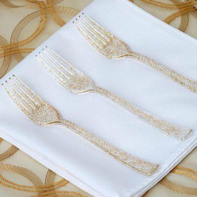 100 Pack Gold Glittered Disposable Plastic Knife/Fork/Spoons Wedding Tableware