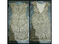 GOLD SEQUIN DRESS SIZES 8 10