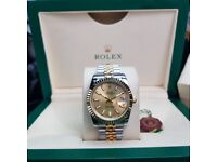 New R9lex DateJust With Gold Face And Markers Comes Rolex Boxed with Paperwork