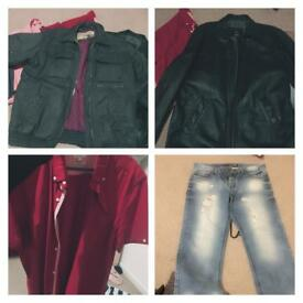 Men's clothes Bundle excellent condition real leather jacket