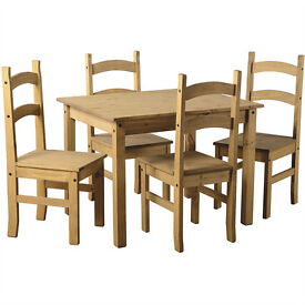 NEW, Corona Dining Table & 4 Chairs in Waxed Pine