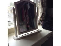 White hinged dressing table mirror