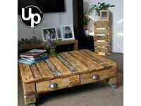 Reclaimed Wood Coffee Table with 4 drawers on 50mm castors