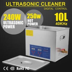 New Stainless Steel 10 L Liter Industry Heated Ultrasonic Cleaner Heater w/Timer - BRAND NEW - FREE SHIPPING