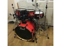 Fully Refurbished Red Fade Pearl ELX Drum Kit // Free Local Delivery