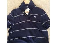 Men's Navy & White Stripe Abercrombie & Fitch Polo T-Shirt - Size Large - Muscle Fit
