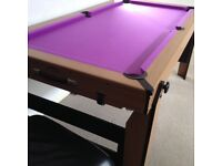 BCE 6Ft Rolling/Lay Flat Folding Pool Table With Cues, Pool & Snooker Balls Triangle Chalk Etc