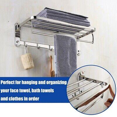 Foldable Stainless Steel Towel Rack Bar Wall Mounted Holder Bathroom Hotel (Stainless Steel Towel Shelf)