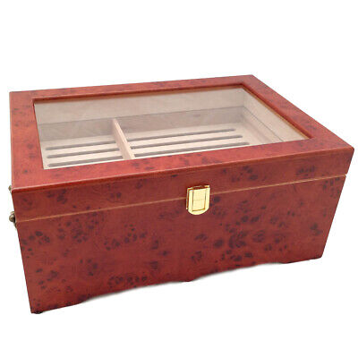 CLEAR TOP 150 ct Capacity LUXURY REDWOOD CIGAR HUMIDOR BOX