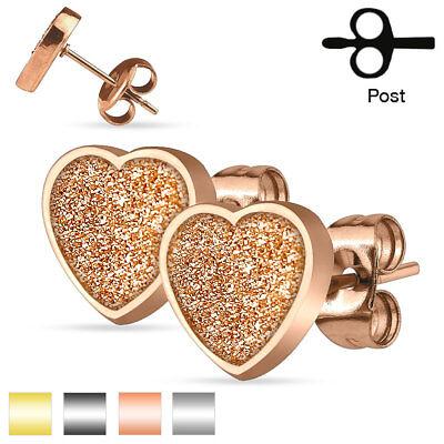 PAIR of Sand Glitter Heart Stud Earrings Stainless Steel 22g ](Glitter Sand)
