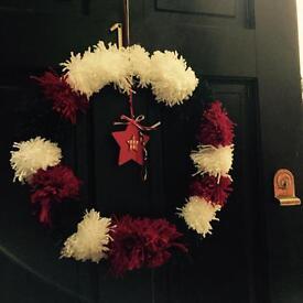 Handmade pom pom Winter Welcome Wreath