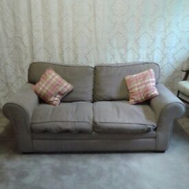 Brown/Beige 2 Seater Sofa