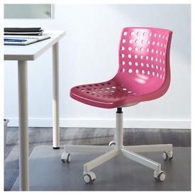 IKEA OFFICE CHAIR PINK & WHITE HEIGHT ADJUSTABLE WITH LUMBAR SUPPORT
