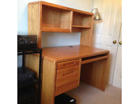 Oak Writing/Office Desk, with Bookshelf