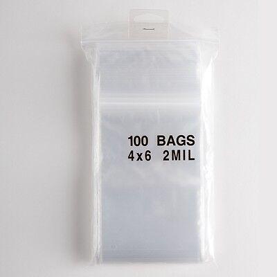 100 Ziplock Bags 4x6 Clear Plastic 2 Mil Zip Lock Storage Bag Baggies