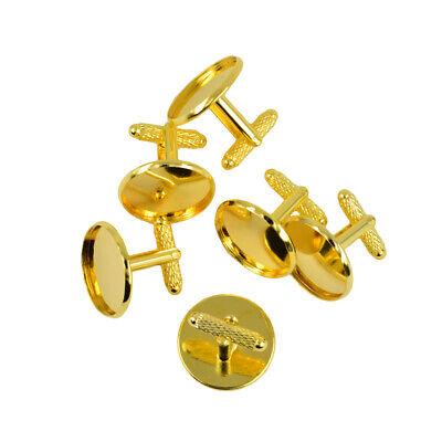3460bd6662f08 ... 6 Stück Runde Leere Manschettenknöpfe für DIY Selbst Herstellen -  Goldfarbig. Link