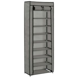 Shoe Cabinet with Cover Grey 57x29x162 cm Fabric-282432