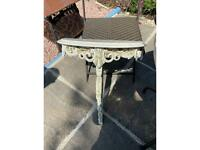 1920 semi circle side table beautifull curved pine screws to wall
