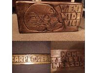 Hand carved solid pine wooden block with skull and latin