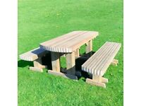 Massive Garden Table with Benches | Patio Bench | Heavy Duty | FREE Delivery Norwich | 4ft, 5ft, 6ft
