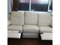 Like-new 3 piece cream leather sofa