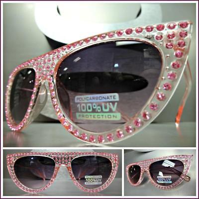 Nobler Retro Cat Eye Style Sonnenbrille Rosa Gestell Glitzernd Bling Strass