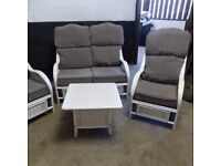 WHITE CANE 3 PIECE SUITE AND TABLE