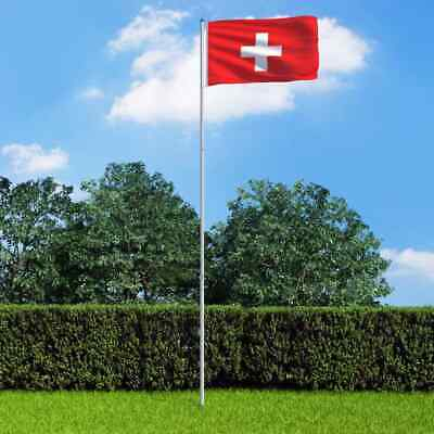 vidaXL Switzerland Flag and Pole Aluminium 6m Outdoor Pole Halyard Pole Kit