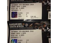 2x Tickets Barbarians v South Africa Wembley 05/11/16