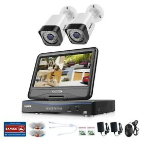 "SANNCE 10.1""LCD 5IN1 4CH DVR 720P 1MP CCTV Outdoor Security Camera System IR 2TB"