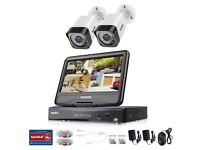 """SANNCE 10.1""""LCD 5IN1 4CH DVR 720P 1MP CCTV Outdoor Security Camera System IR 2TB"""