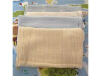 4 Cellular Baby Blankets 100% Cotton - Moses Basket / Pram / Car Seat / Buggy Blue / Cream / White