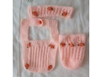 "CUTE PEACH HEADBAND,BIB & BOTTLE WARMER.BABY REBORN SIZE 18""-19""- SMALL BABY.£3.50 INC POSTAGE"