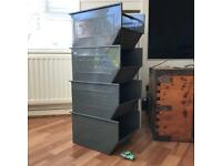 Set of 4 toy storage boxes industrial style metal