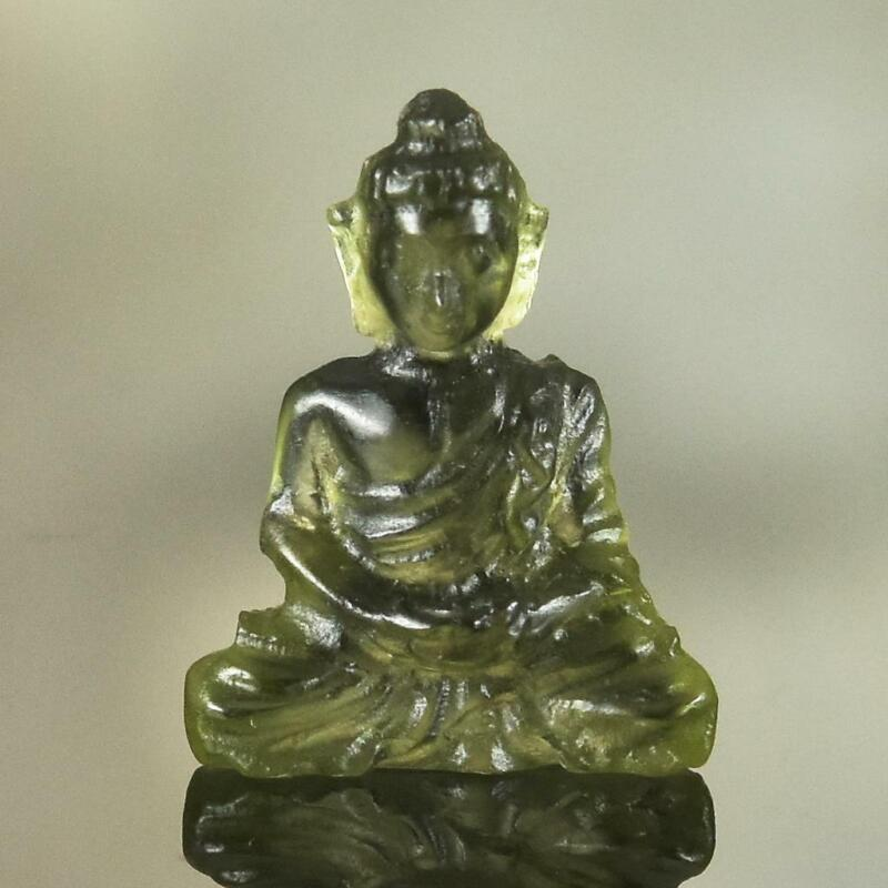 Sculpture of the Buddha Natural Green Meteor Moldavite Gemstone Carving 2.95 cts