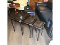 Nest of tables x 3 glass covers over wood vgc