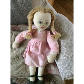 Retro rag doll 30 years old: pink gingham dress