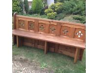 Original solid oak carved antique church pew