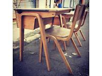 Vintage School Desk & Chair Set Kids Room Study Industrial