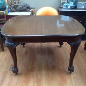 Stunning Antique Victorian Dining Table Ornate Carved Legs On Baw And Claw Feet Castors