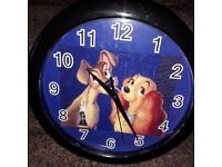 Disney lady and the Tramp wall clock