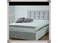 Brand New 3FT Single Crush Velvet Bed Set ( Base & Mattress ) with Fast Delivery